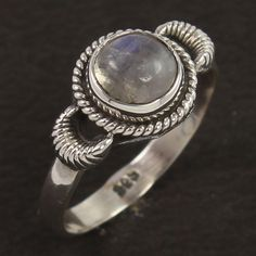 Solid 925 Sterling Silver Ring Size US 6.75 Real Fire RAINBOW MOONSTONE Gemstone #Unbranded