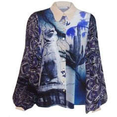 Klements - Painters Smock in Dogs of Alchibiades Print (600 CAD) ❤ liked on Polyvore featuring tops, blue shirt, palm print shirt, sleeve shirt, cuff shirts and dog print shirt