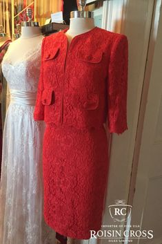 Tangerine Solstiss Lace Mother of The Bride or Mother of The Groom outfit made at Roisin Cross Silks Dublin Groom Outfit, Groom Dress, Design Consultant, Dressmaking, Dublin, Mother Of The Bride, Cold Shoulder Dress, Silk, Lady