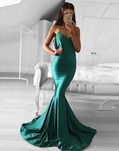 Green mermaid long prom dress, green evening dress 2017