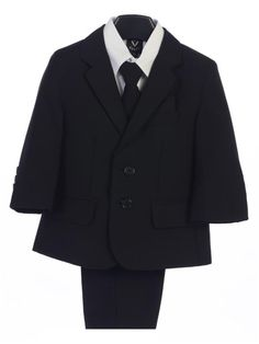 fbddefee5a1 Boy s 5 Piece Suit - 2 Buttoned Black Jacket and Pants