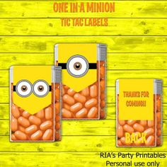 One In A Minion Tic Tac Labels by RIAsPartyPrintables on Etsy, $5.00