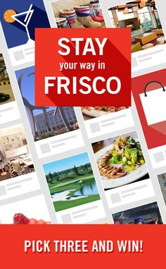 #FriscoPick3 Contest Single Entry - 2-night stay at Westin Stonebriar - $100 Mash'd Restaurant gift card	 - $150 Stonebriar Centre gift card.    Visit https://www.facebook.com/visitfriscotx to enter.