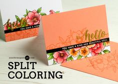 Welcome! Today I show how you can two-cards-for-one with a split coloring technique. This one works well with almost any stamps that calls for coloring.