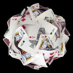 playing card sphere basedon an IKEA lampshade design