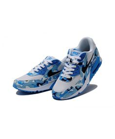 Nike Air Max 90 Camouflage Running Shoes Blue White Sale