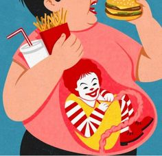 John Holcroft editorial and conceptual illustrator. Illustration about large fas… John Holcroft editorial and conceptual illustrator. Illustration about large fast food chains and how childhood obesity is seen as a 'lifeblood' to them Art And Illustration, Art Pop, Pop Art Food, Satire, Sketch Manga, Illustrator, Art Postal, Satirical Illustrations, Retro Illustrations