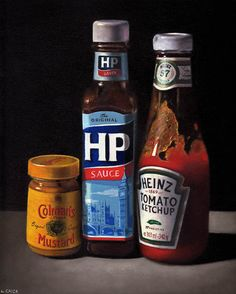 sauces and mustard Oil on board by Lucy Crick Bottle Art, Beer Bottle, Hp Sauce, Still Life Artists, Mustard Oil, Still Life Oil Painting, Art Addiction, David Hockney, Good Enough To Eat