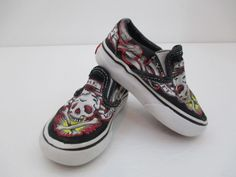 40e321d7fa VERY RARE VANS BY OLIVER PECK SLIP ON CANVAS SKULL SHOES TATTOO SKATER  TODDLER 5  VANS  CasualShoes