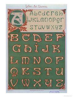 Image detail for -Art Nouveau Alphabet, 1903 reproduction procédé giclée par E . Design Art Nouveau, Art Nouveau Poster, Images Alphabet, Alphabet Art, Monogram Alphabet, Typography Alphabet, Typography Fonts, Design Typo, Graphic Design