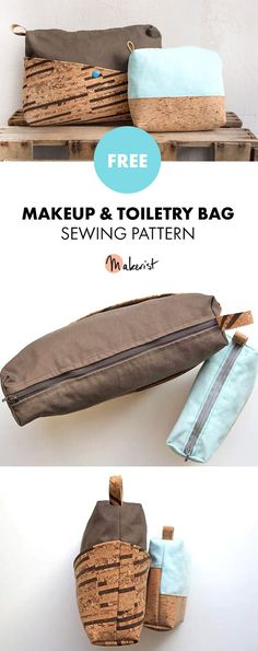 Stunning Cork Makeup Or Toiletry Bag - Free Sewing Patterns via Makerist.com