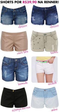 Short, shorts, Renner, r$39,90, preço, barato, promoção, liquidação, fast-fashion, site, compra online, short jeans, couro sintético, couro fake, tachas, renda, rendado
