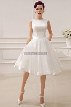 Bateau Sash Simple Knee-length Organza Wedding Dress