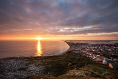 Sunset over Chesil bBeach and the west Dorset Coast from the Isle of Portland Photography Workshops, Landscape Photography, Weymouth Beach, Portland Dorset, Harry Rocks, Lulworth Cove, Dorset Coast, Jurassic Coast, Open Water