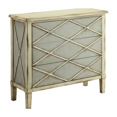 Ivory and gray chest with diamond network detail.   Product: ChestConstruction Material: MDFColor: Gra...