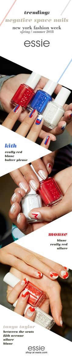 this just in: negative space nails are taking the NYFW runway by storm! get the hautest manicures of the season with essie's nail art straight from the runway. for a simple DIY, try a racing stripe mani using 'blanc' and 'really red' like Monse. the sporty Champion logo nails from Kith using 'blanc,' 'really red' & 'butler please' make a gorgeous athletic nail art. for a more feminine take, try the flowing ribbons from Tanya Taylor using 'between the seats,' 'allure,' 'fifth avenue'…