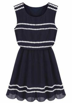 Navy Striped Lace Round Neck Sleeveless Chiffon Dress