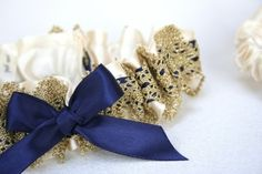 Ivory, Navy and Gold Lace Bridal Garter