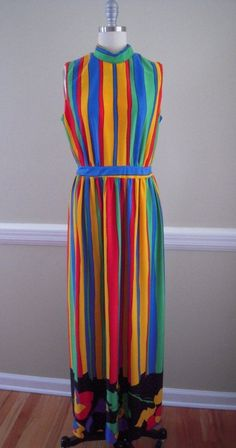 Vintage 70's Anika Stockholm Op Art Color Block Stripe Floral Maxi Dress M | eBay