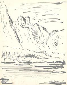 E. Besozzi pitt. s.d. (1956) Montagne pennarello su cartoncino cm. 27,5x21,8 arc. 500