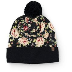 Empyre Vanna Floral Pom Beanie ❤ liked on Polyvore featuring accessories, hats, pom pom beanie, floral print hat, black pom beanie, pom pom hat and pom beanie