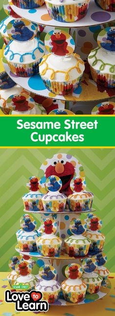 Sesame Street Cupcakes - No Sesame Street party is complete without cupcakes! Topped with two of everyone's favorite characters, these Simple and Fun Sesame Street Cupcakes are a quick and easy treat to make for your kids themed birthday party celebration. Use the Sesame Street Treat Stand to arrange your cupcakes and create a fun centerpiece for your sweet table!