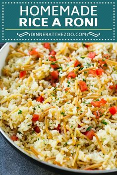 This homemade rice-a-roni is a blend of rice and pasta cooked in butter, chicken broth and seasonings until light and fluffy. An easy side dish that tastes WAY better than the store bought kind! Rice-A-Roni Easy Rice Recipes, Side Dish Recipes, Veggie Recipes, Salad Recipes, Cooking Recipes, Simple Recipes, Delicious Recipes, Chicken Recipes, Yummy Food