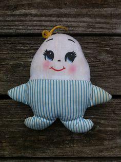 Vintage stuffed plush doll 1950's Plakie Humpty Dumpty egg nursery baby EUC!!