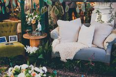 The Cream Event Los Angeles, vintage couches, indoor plants