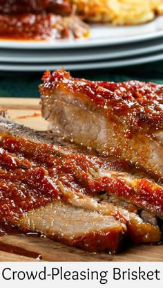 This Crowd-Pleasing Brisket doesn't require a ton of fuss. There's no seasoning rub or long hours in a smoker required. Plus, since it's made with our own easy throw-together sauce, you better believe the flavors are bold! Slow Cooker Recipes, Meat Recipes, Crockpot Recipes, Cooking Recipes, Game Recipes, Healthy Recipes, Healthy Cooking, Chicken Recipes, Steak Braten