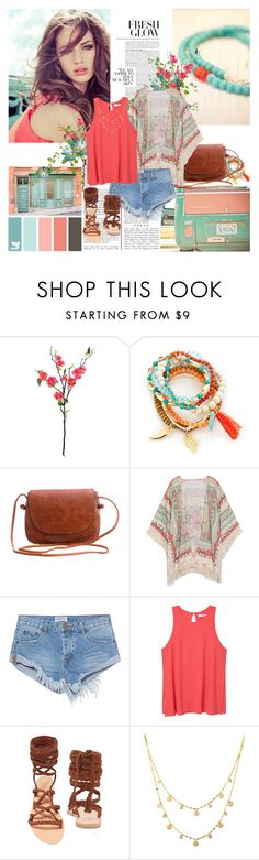 """Wandering Around..."" by japanesegarden ❤ liked on Polyvore featuring Laura Cole, Red Camel, One Teaspoon, MANGO, Ancient Greek Sandals, Lana, boho, casualoutfit and denimshorts"