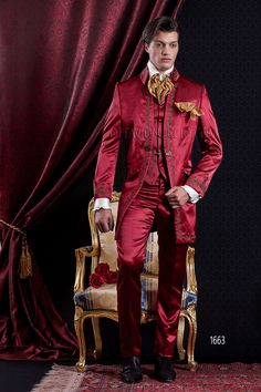 Baroque groom suit in red satin with golden embroideries www.ottavionuccio.com