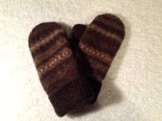 Men's Mittens, felted wool, upcycled, eco-friendly, fulled sweater, Christmas gift, fair isle design, browns/rust/green by LambZDivE on Etsy