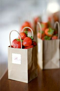 Paper bag filled with strawberries