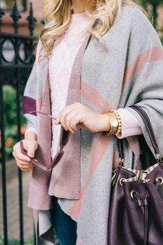 Cozy fall look with an unexpected color story: blush, gray and deep plum.