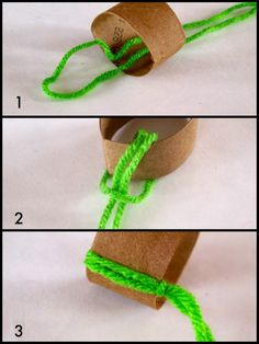 It's easy to put the yarn on the toilet paper roll.