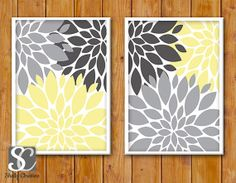 Floral Flower Burst Gray Yellow Set of 2  Wall Baby Decor Bedroom Bathroom  8x10 DIY Printable INSTANT DOWNLOAD on Etsy, $10.00