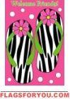 Zebra Flip Flops Applique Garden Flag