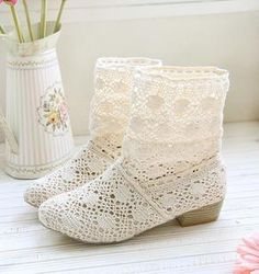 Woman lace casual short boots shoes spring summer beige #an-lace-casual-boots-shoes-spring-summer-beige