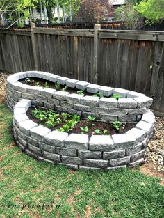 Learn how to build a raised garden with pavers that adds a fun architectural element to your yard with this simple step-by-step tutorial. Garden Pavers, Brick Garden, Backyard Landscaping, Landscaping Ideas, Backyard Ideas, Brick Planter, Building Raised Garden Beds, Raised Flower Beds, Stone Raised Beds