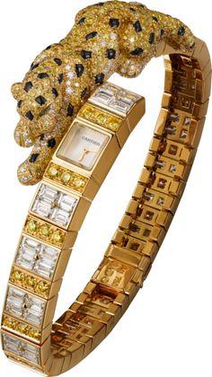 Cartier-High Jewelry Panthère Asymétrique watch Yellow gold, yellow diamonds, diamonds, emeralds, onyx.