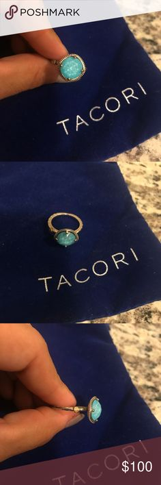 Tacori ring Simply Gem Ring featuring Neo-Turquoise. Dive into the Island Rains pool! Like reflections sparkle on an ocean wave, this doublet gemstone creates a multidimensional look from all angles. An aerial view of this ring shows a glowing blue gemstone, while one glance at the side shows a clear faceted gemstone. The band is decorated with signature Tacori crescent silhouettes and a single Tacori gem seal. Metal Shown: Silver with an 18kt Gold Gem Seal Gemstones: Clear Quartz Over…