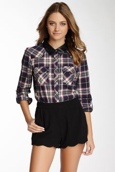 Faux Leather Collar Flannel Shirt