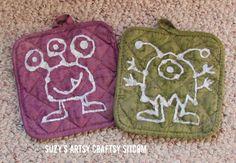 Monster Shelf and Potholders/Suzys Artsy Craftsy Sitcom #HalloweenRIT #Halloween @Ritdye