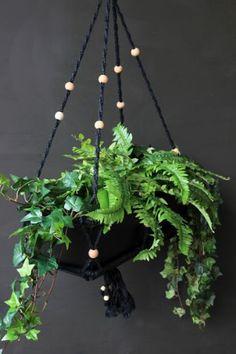 Macrame Beaded Black Rectangular Hanging Plant Pot