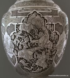 Iran - Isfahan handicraft - Hand Engraving on Sliver Plated Candy/Nut Oval Bowl