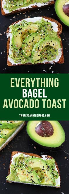 Everything Bagel Avocado Toast-if you like everything bagels, you will LOVE this easy avocado toast! Toast with cream cheese, avocado, and everything bagel seasoning! This avocado toast is great for breakfast, lunch, or snack time!