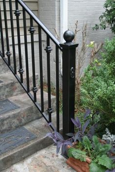 10 Image Wonderful Exterior Iron Railings with Outdoor Wrought Iron Stair Railing for Home: Amazing Exterior Iron Railings With Allen Iron Works Birmingham Iron Exterior Railings Indoor Garden Steps For Exterior Porch Railings And Wrought Iron Railings Ex Porch Step Railing, Wrought Iron Porch Railings, Porch Handrails, Exterior Stair Railing, Black Stair Railing, Outdoor Stair Railing, Iron Handrails, Porch Stairs, Railing Ideas