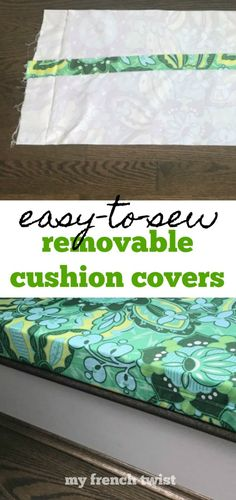 #removablecushioncovers Patio Cushion Covers, Box Cushion, Pillow Covers, Making Cushion Covers, Cushion Fabric, Camper Cushions, Patio Cushions, Seat Cushions, Cushion Cover Pattern