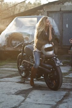 "The BMW ""Indira"" motorcycle is one of those vintage designs you desire having in your garage. A solid German motorcycle mixed with the craftsmanship of Bmw Boxer, Motorbike Girl, Motorcycle Style, Women Motorcycle, Girl Riding Motorcycle, Motorcycle Touring, Motorcycle Quotes, Motorcycle Helmets, Lady Biker"